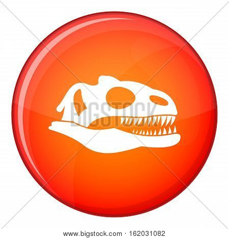 Skull of dinosaur icon in red circle isolated on white background vector illustration