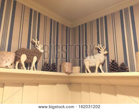 Christmas sheep doll on wall corner home decoration