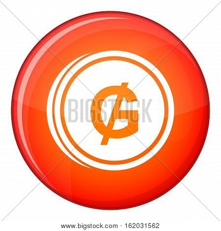 Coin guarani icon in red circle isolated on white background vector illustration