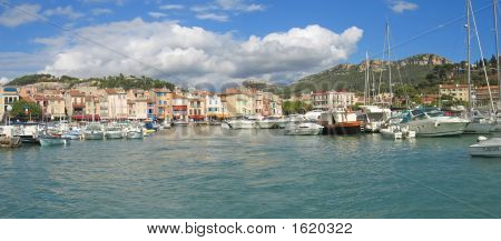 Small Provencal Village Harbour With Many Sea Boats, Cassis, Marseille, South Of France, Panorama