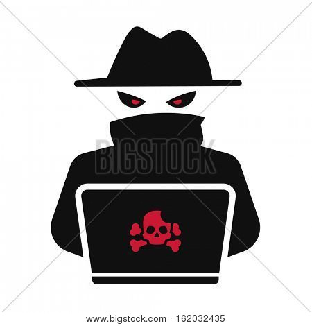 Computer hacker. Dangerous anonymous person icon. Black and red illustration.
