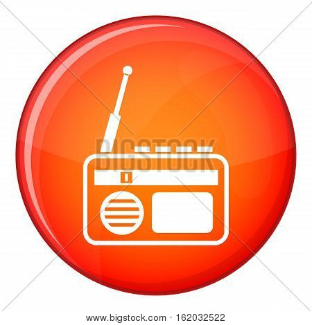 Radio icon in red circle isolated on white background vector illustration