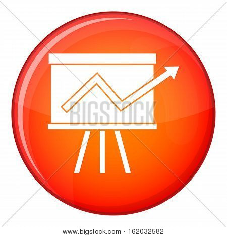 Flip chart with statistics icon in red circle isolated on white background vector illustration