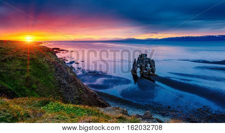 Spectacular black sand after the tide. Picturesque and gorgeous scene. Location famous place Hvitserkur rock, Vatnsnes peninsula, northwest Iceland, Europe. Popular tourist attraction. Beauty world.