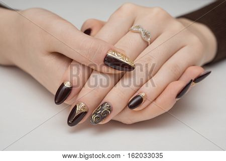 Very beautiful black nails close up  hand