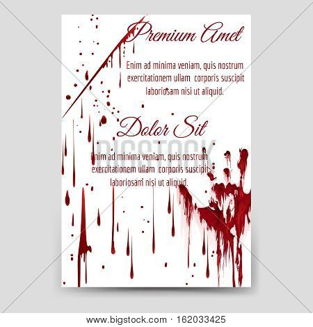 Horror flyer template with bloody drops and handprint vector