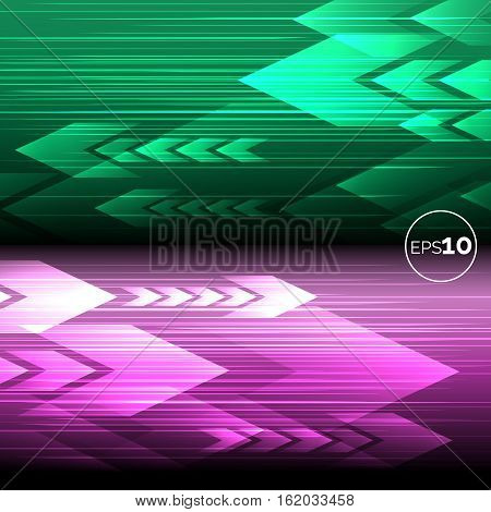Abstract tech motion lines and arrows pink and green backgrounds. Vector illustration