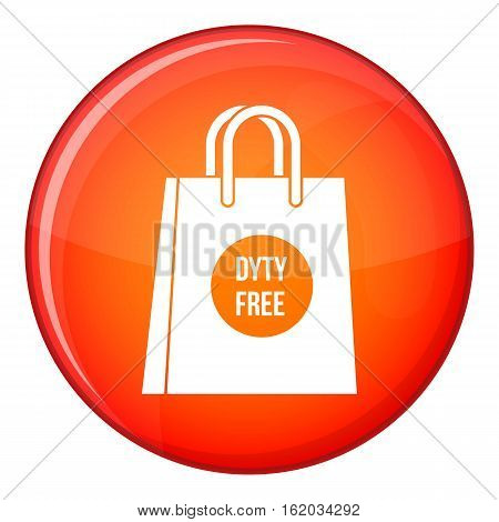 Duty free shopping bag icon in red circle isolated on white background vector illustration