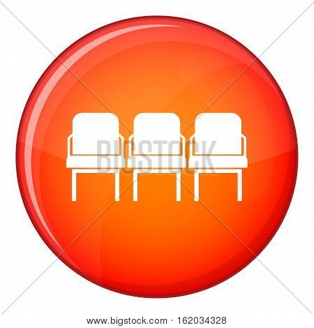 Chairs in the departure hall at airport icon in red circle isolated on white background vector illustration