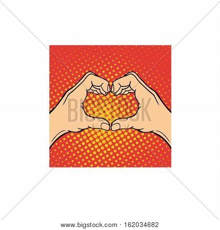 Hands heart symbol shape made of two beautiful arms. Romantic human hands heart symbol isolated on white. People friendship arm gesture vector concept.