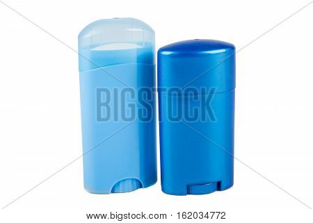Two Blue Deodorant Containers Isolated On White Background