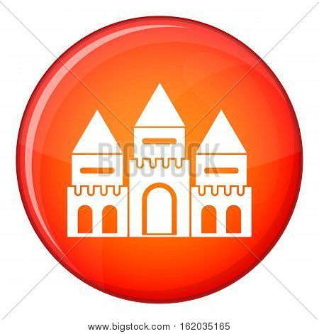 Children house castle icon in red circle isolated on white background vector illustration