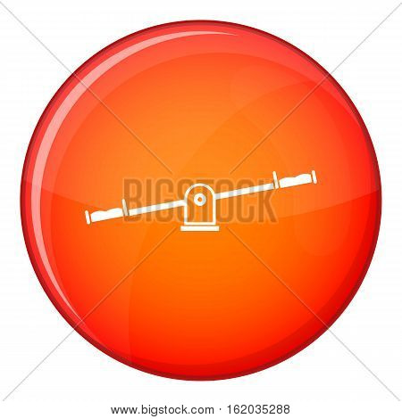 Seesaw icon in red circle isolated on white background vector illustration