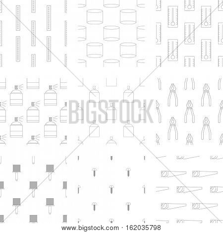 Vector icon set of carpenter tool on white background