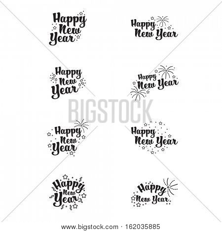 Vector icons set of happy new year on white background