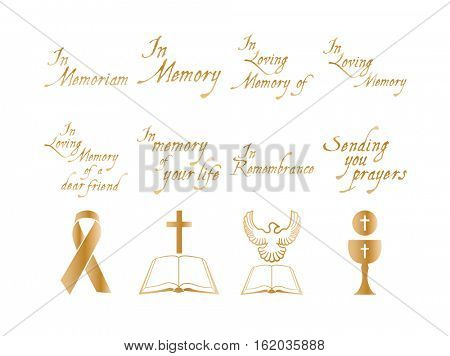 Vector set of christian religious icons on white background