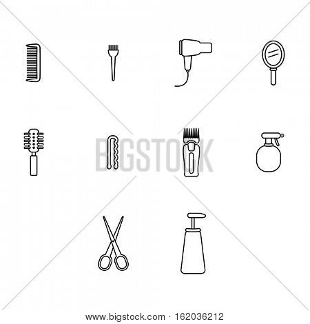 Vector icons set of barber equipment and accessories on white background