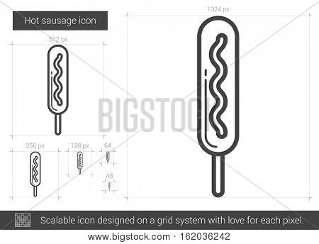 Hot sausage vector line icon isolated on white background. Hot sausage line icon for infographic, website or app. Scalable icon designed on a grid system.