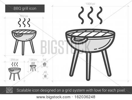 BBQ grill vector line icon isolated on white background. BBQ grill line icon for infographic, website or app. Scalable icon designed on a grid system.