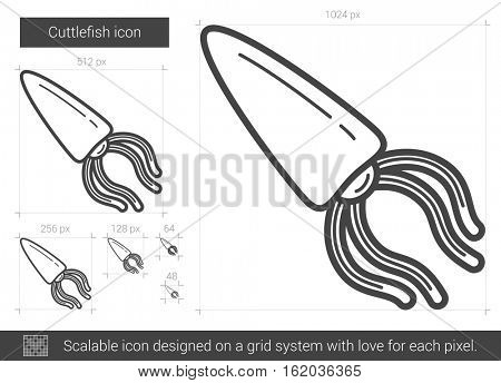 Cuttlefish vector line icon isolated on white background. Cuttlefish line icon for infographic, website or app. Scalable icon designed on a grid system.