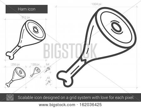 Ham vector line icon isolated on white background. Ham line icon for infographic, website or app. Scalable icon designed on a grid system.