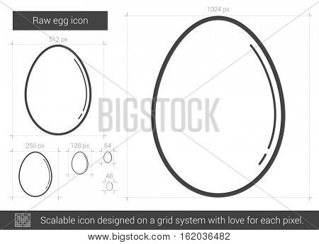 Raw egg vector line icon isolated on white background. Raw egg line icon for infographic, website or app. Scalable icon designed on a grid system.