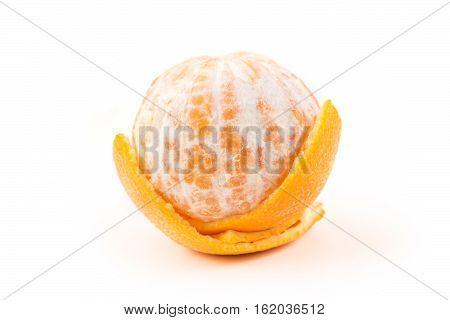 One Navel Orange Peeled Isolated On White Background
