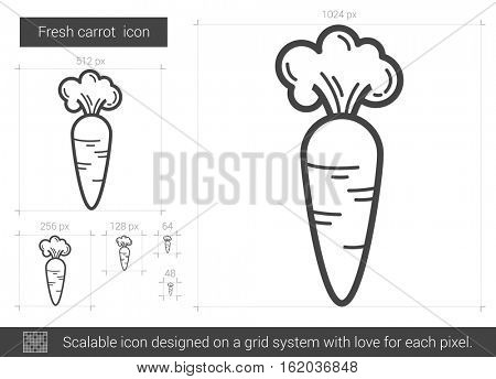 Fresh carrot vector line icon isolated on white background. Fresh carrot line icon for infographic, website or app. Scalable icon designed on a grid system.