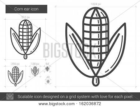 Corn ear vector line icon isolated on white background. Corn ear line icon for infographic, website or app. Scalable icon designed on a grid system.