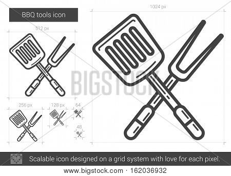 BBQ tools vector line icon isolated on white background. BBQ tools line icon for infographic, website or app. Scalable icon designed on a grid system.