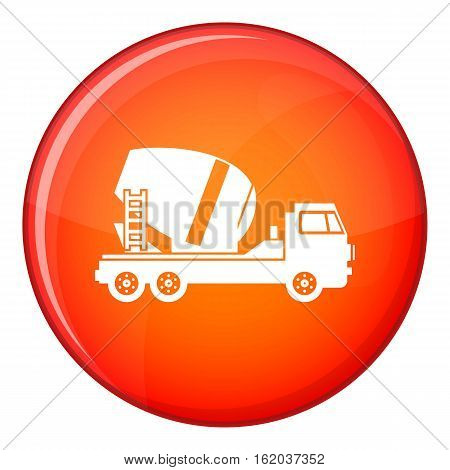 Concrete mixer truck icon in red circle isolated on white background vector illustration