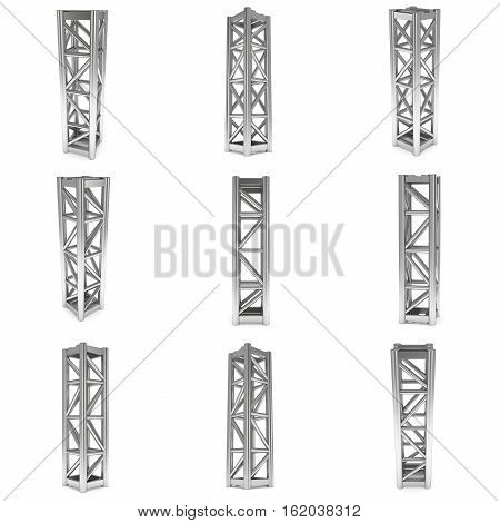 Steel truss girder element set. 3d render isolated on white
