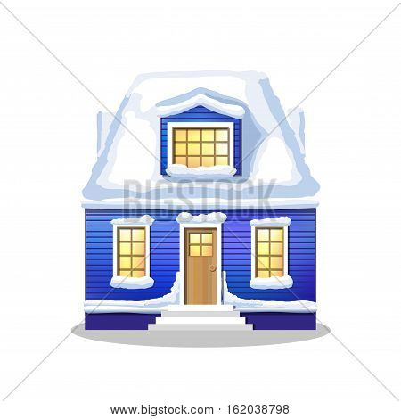 winter blu house. Country cozy house covered in snow on a white background