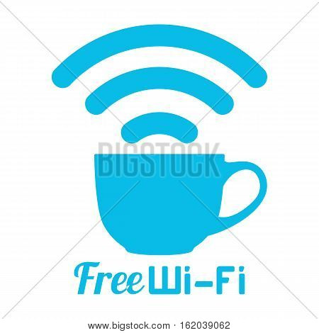 Internet cafe free wifi coffee cup sign. Wireless Network icon. Blue flat button with wi-fi symbol. Modern UI element. Vector illustration.