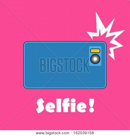 Taking Selfie Photo on Smart Phone concept banner. Vector illustration of glamor smartphone on solid pink background.