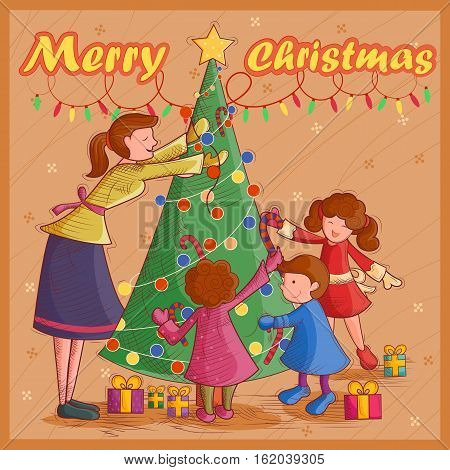 Vector design of people decorating pine tree for festival Merry Christmas holiday background