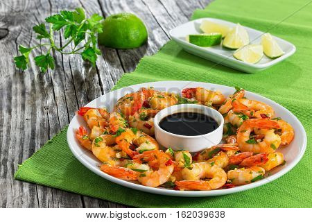 Butter Garlic Fried Shrimps Sprinkled With Pieces Of Chilli