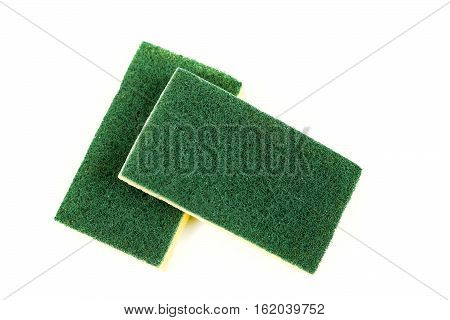 Two Cellulose Sponges Isolated On White Background