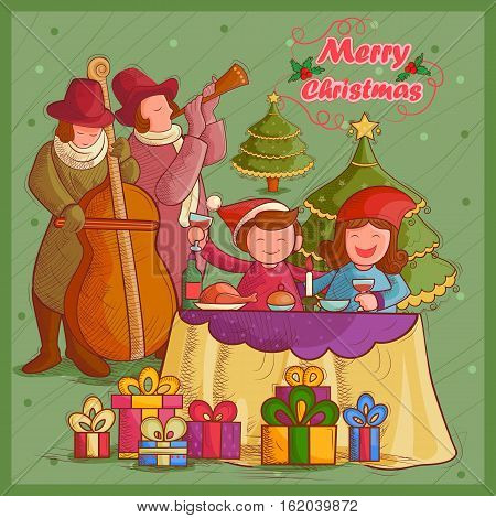 Vector design of people celebrating festival Merry Christmas holiday background