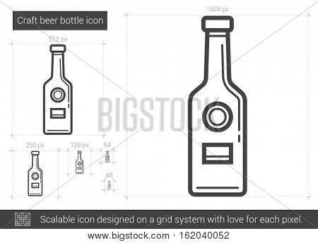 Craft beer bottle vector line icon isolated on white background. Craft beer bottle line icon for infographic, website or app. Scalable icon designed on a grid system.