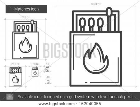Matches vector line icon isolated on white background. Matches line icon for infographic, website or app. Scalable icon designed on a grid system.