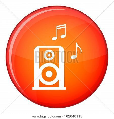 Portable music speacker icon in red circle isolated on white background vector illustration