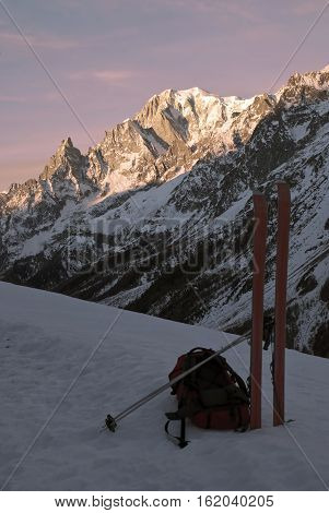 Warm colors in the dawn of a new day on the Val Veny and Aiguille Noire