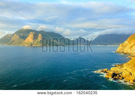 Lookout Point at sunset in Hout Bay from the famous and scenic Chapman's Peak Drive, Cape Town, South Africa, one of the most beautiful streets in the world.