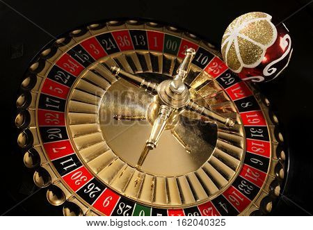 New Year's ball lies on the roulette wheel