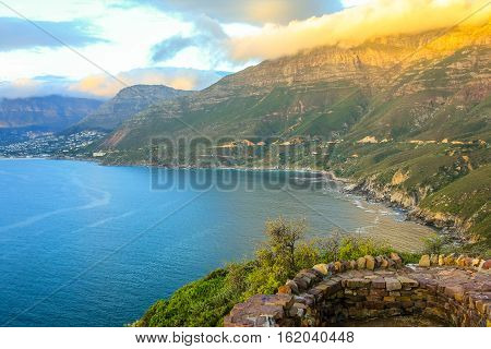 Aerial view of scenic Chapman's Peak Drive, Cape Town, South Africa is considered one of the most beautiful streets in the world.