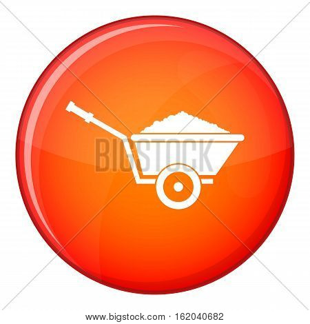 Garden wheelbarrow icon in red circle isolated on white background vector illustration
