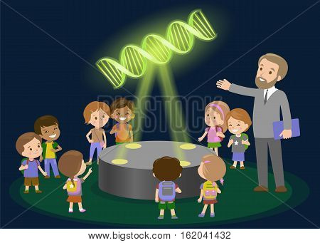 Innovation education elementary school learning technology and people concept - group of kids looking to molecule of DNA. hologram on biology lesson future museum center vector