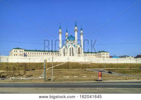 KAZAN RUSSIA - April 18.2010: Kazan Kremlin. Islamic shrine reconstructed Qolşarif Mosque