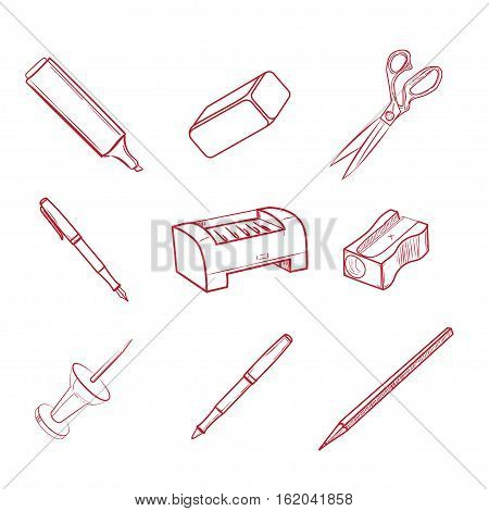 Hand-drawn Office equipment icons. Vector illustration, EPS 10